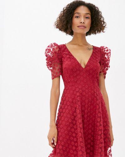Бордовое прямое платье Little Mistress