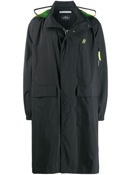 Czarny płaszcz przeciwdeszczowy z długimi rękawami z kapturem Neighborhood