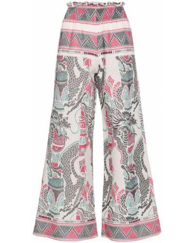 Розовые брюки с вышивкой Celia Dragouni
