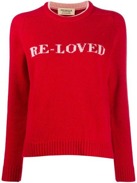 Шерстяной красный свитер в рубчик с круглым вырезом Pringle Of Scotland