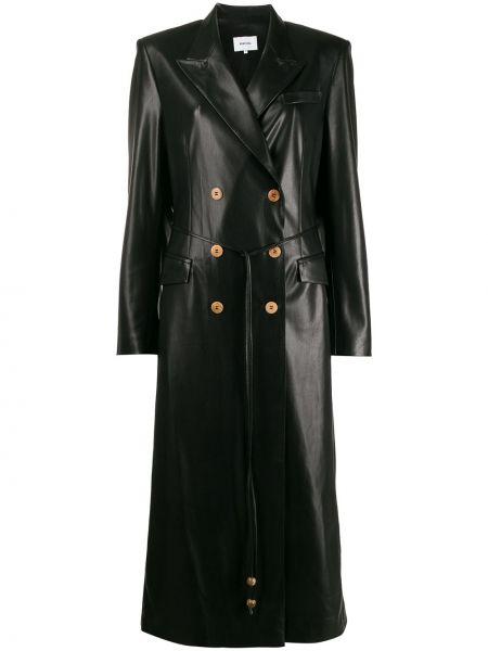 Klasyczny czarny płaszcz skórzany Nanushka