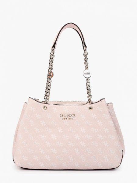 Кожаная сумка розовый с ручками Guess