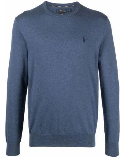 Niebieski polo z długimi rękawami z haftem Polo Ralph Lauren