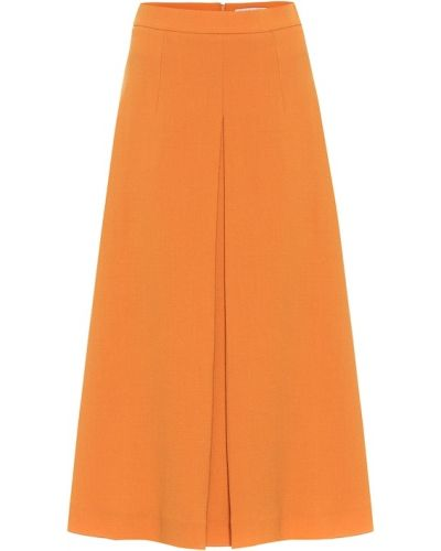 Оранжевая шерстяная юбка миди Emilia Wickstead