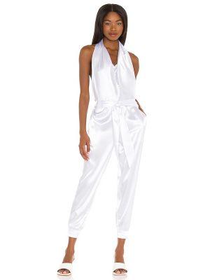 Белый сатиновый комбинезон с карманами с открытой спиной Lna