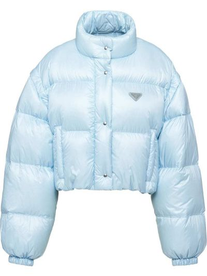 Z rękawami niebieski długa kurtka z kieszeniami Prada