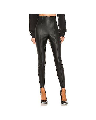 Кожаные черные брюки на резинке H:ours