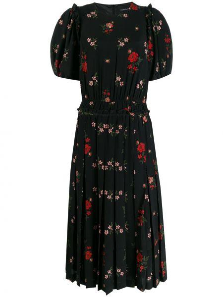 Черное шелковое плиссированное платье мини с короткими рукавами Simone Rocha