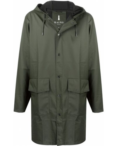 Z rękawami zielony płaszcz przeciwdeszczowy z kapturem od płaszcza przeciwdeszczowego Rains