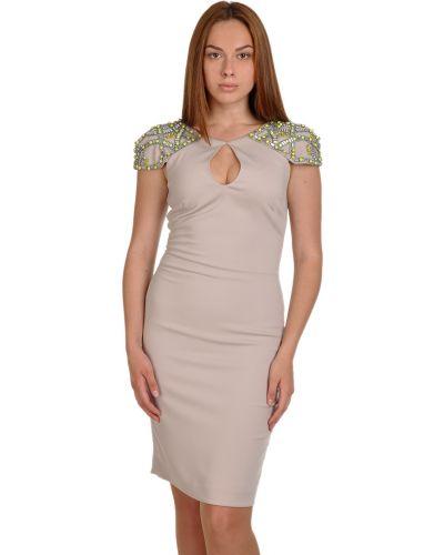 Платье из полиэстера - бежевое Badgley Mischka