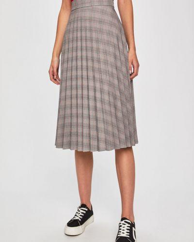 Серая расклешенная плиссированная юбка с поясом в рубчик Answear