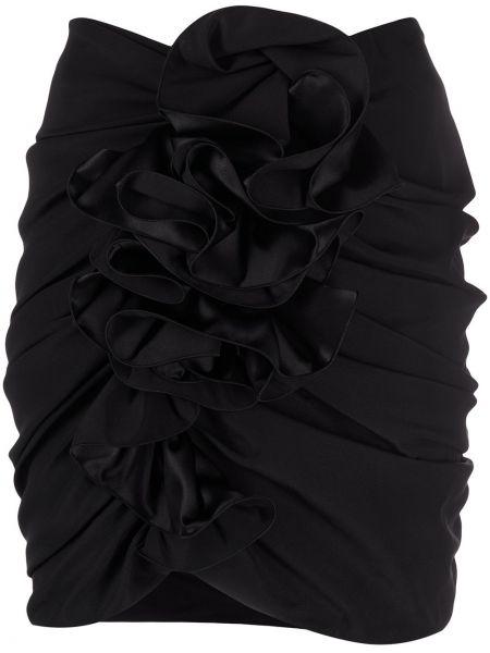 Шелковая с завышенной талией черная юбка мини Magda Butrym