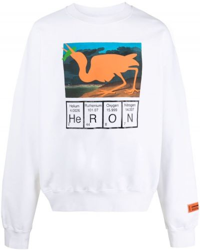 Biała bluza długa bawełniana z długimi rękawami Heron Preston