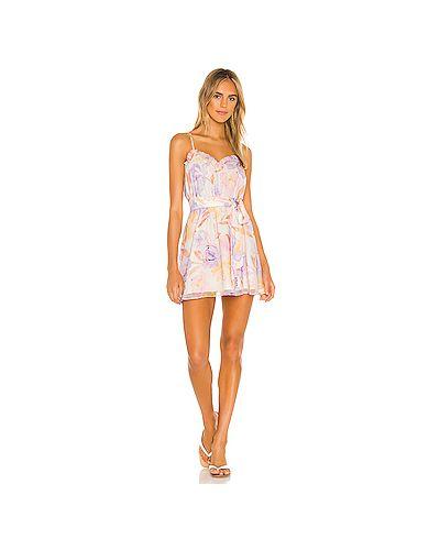 Розовое платье мини на бретелях эластичное Majorelle
