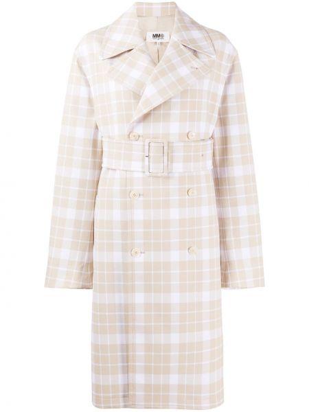 Длинное пальто с поясом с лацканами из вискозы Mm6 Maison Margiela