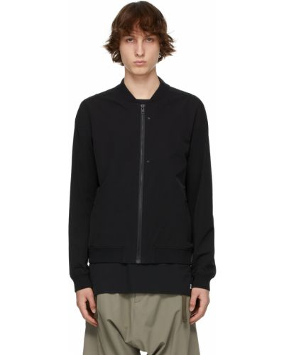 Czarna długa kurtka z nylonu z długimi rękawami Acronym