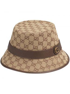 Brązowy kapelusz skórzany vintage Gucci