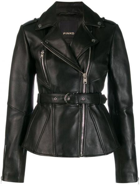 Длинная куртка черная байкерская Pinko