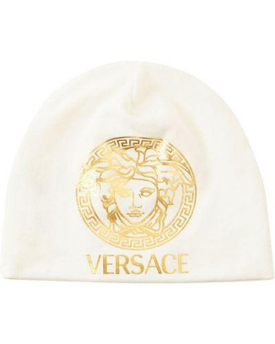 Трикотажная белая шапка с принтом Versace