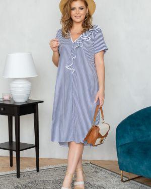 Летнее платье в полоску с V-образным вырезом Eliseeva Olesya
