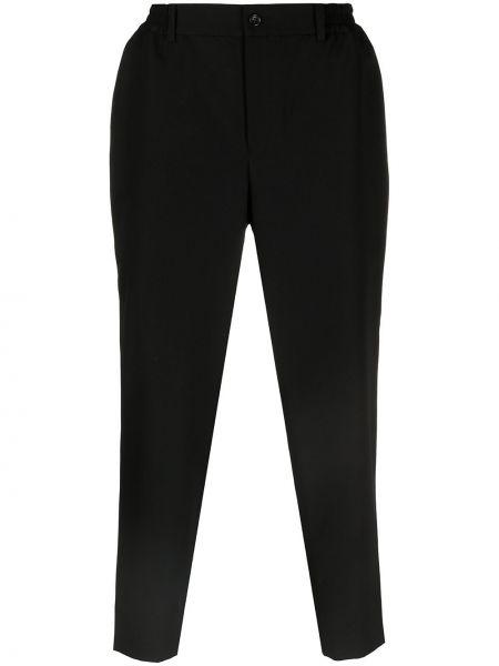 Czarne spodnie wełniane z paskiem Comme Des Garcons Homme Deux