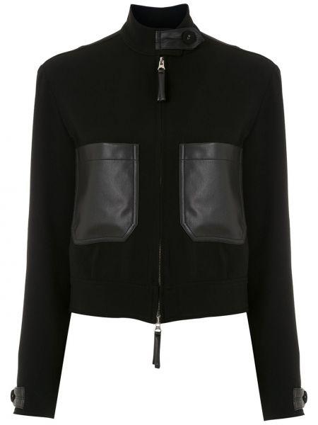 Прямая черная куртка на молнии с воротником Reinaldo Lourenço