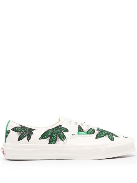 Хлопковые белые слипоны на шнуровке Vans