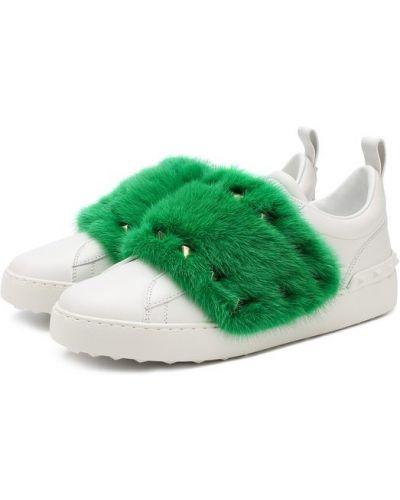 Зеленые кеды с мехом Valentino
