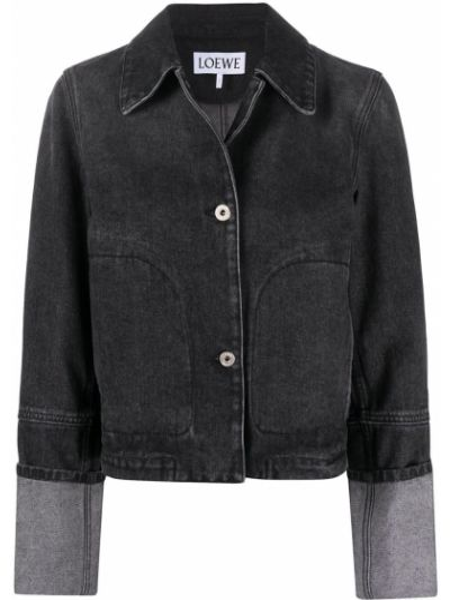 Кожаная куртка на пуговицах - черная Loewe