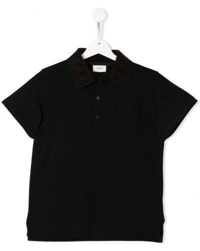 Рубашка черная на пуговицах Fendi Kids