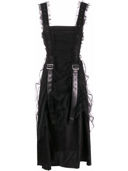 Черное кожаное платье без рукавов квадратное Comme Des Garçons Noir Kei Ninomiya