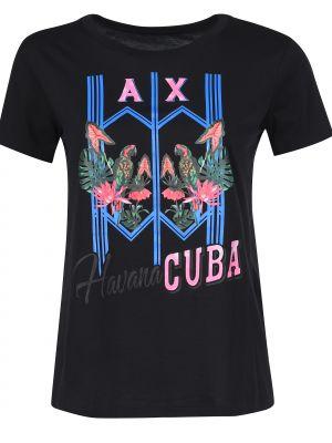Черная футболка хлопковая Armani Exchange