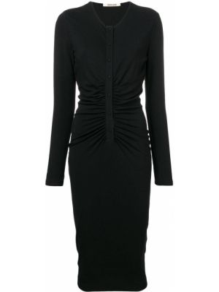 Черное приталенное платье миди на пуговицах с вырезом Roberto Cavalli