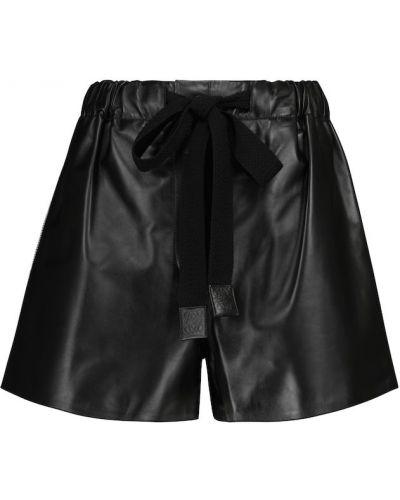 Черные кожаные шорты на шпильке Loewe