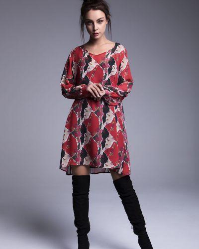 Платье мини с вырезом - красное Naoko