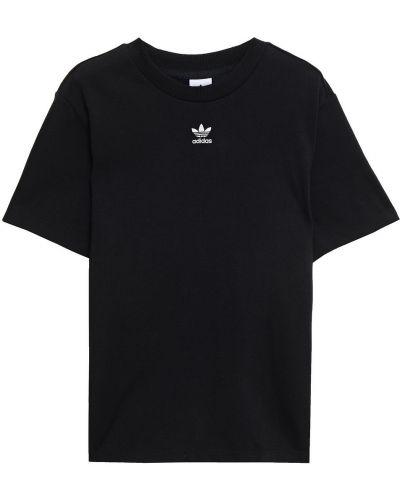 Хлопковая черная футболка с вышивкой Adidas Originals