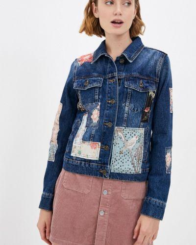 Синяя демисезонная джинсовая куртка Desigual