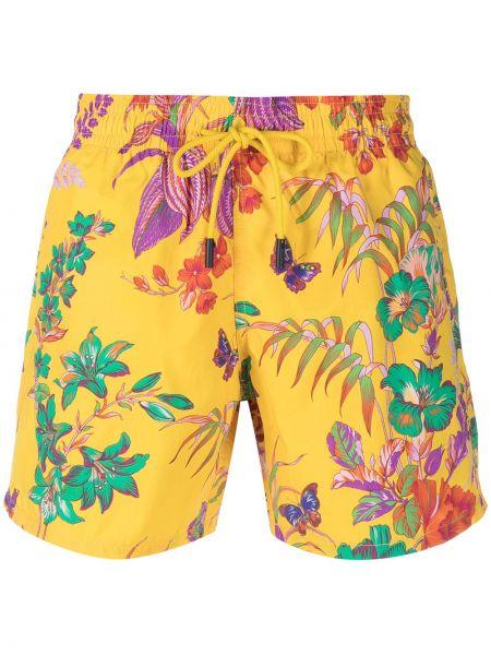 Желтые шорты для плаванья с карманами с заплатками Etro