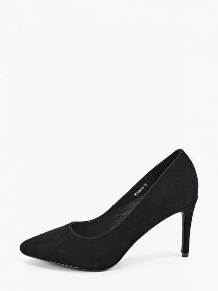 Замшевые туфли черные лодочки Pierre Cardin