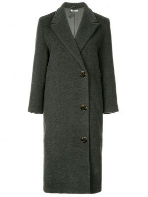 Серое шерстяное пальто классическое с лацканами винтажное Miu Miu Pre-owned