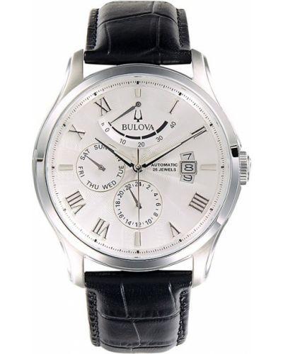 Biały zegarek na skórzanym pasku srebrny kwarc Bulova
