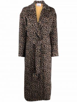 Коричневое пальто леопардовое Erika Cavallini