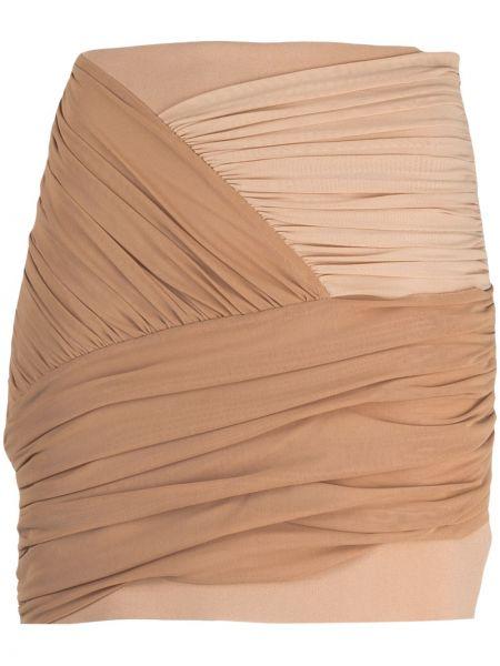 Beżowy spódnica mini z draperią z wiskozy David Koma
