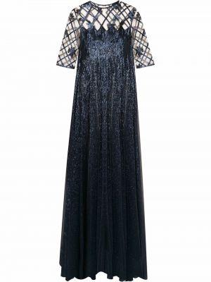Платье макси с длинными рукавами - синее Oscar De La Renta