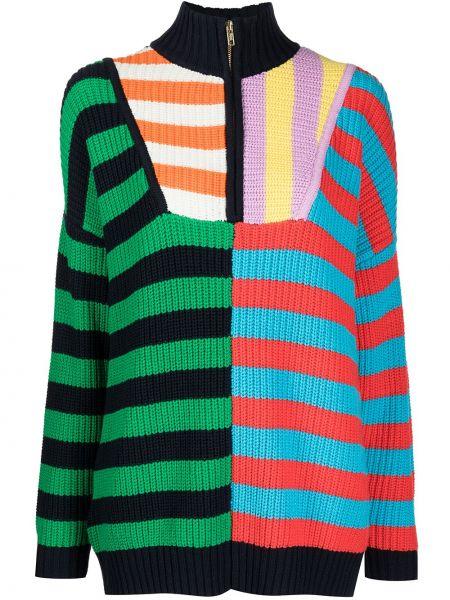 Трикотажная свитер с высоким воротником в полоску Staud
