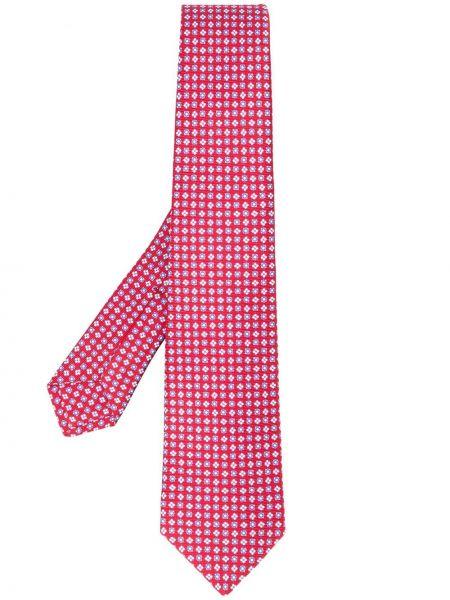 Krawat jedwab z kwiatowym nadrukiem Kiton