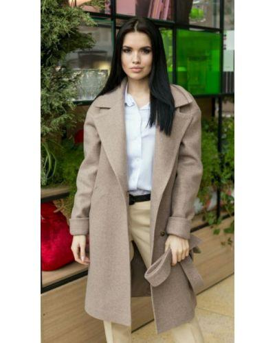 Коричневое шерстяное пальто с поясом Leo Pride