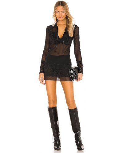 Czarna sukienka mini koronkowa z siateczką Hah