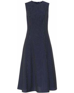 Синее шерстяное вязаное платье миди Polo Ralph Lauren