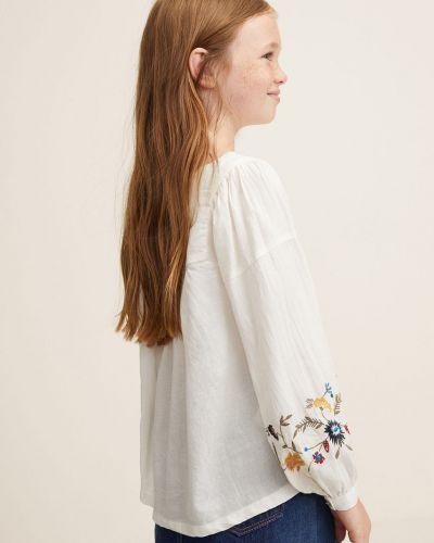 Белая блуза с вышивкой Mango Kids